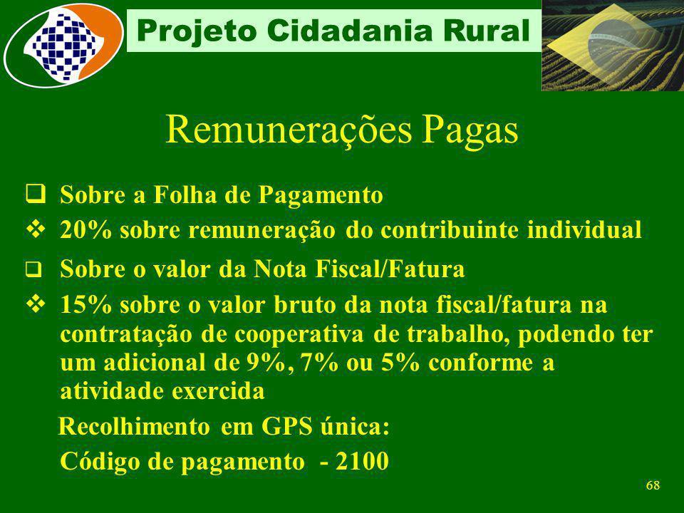 67 Projeto Cidadania Rural Folha de Pagamento de não relacionadas de não relacionadas o Segurados descontado dos segurados empregados e trabalhadores