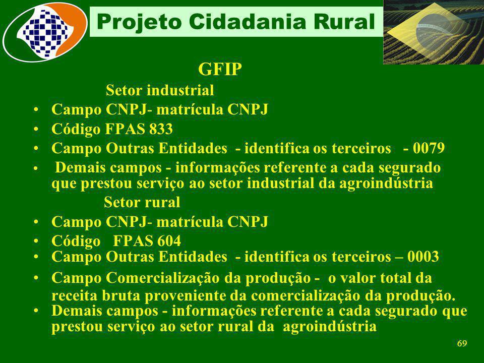 68 Projeto Cidadania Rural Remunerações Pagas Sobre a Folha de Pagamento 20% sobre remuneração do contribuinte individual Sobre o valor da Nota Fiscal
