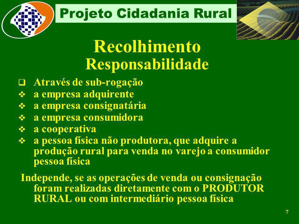 6 Projeto Cidadania Rural Aquele que explora atividade: agropecuária silvicultural indústria rural extrativa de produtos primários pesqueira Em caráte