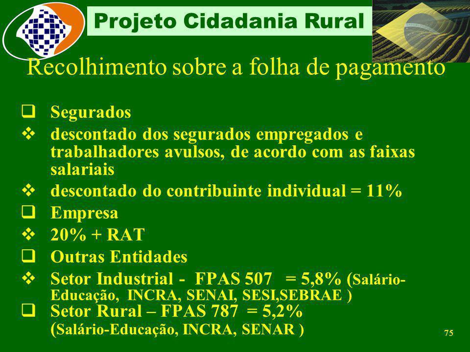 74 Projeto Cidadania Rural Agroindústrias com recolhimento sobre a folha de pagamento Agroindústrias de piscicultura, suinocultura, avicultura e carci