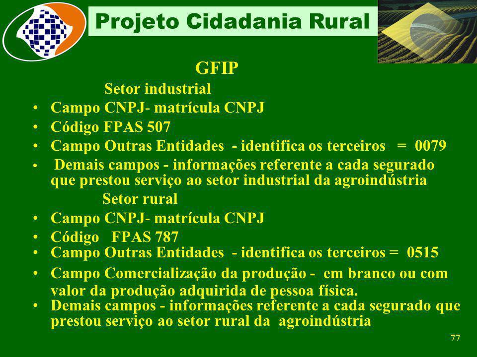 76 Projeto Cidadania Rural Retribuições Pagas Sobre a Folha de Pagamento 20% sobre remuneração do contribuinte individual Sobre o valor da Nota Fiscal
