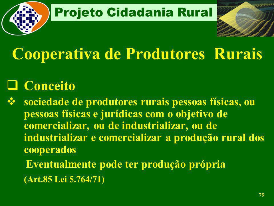 78 Projeto Cidadania Rural Recolhe 20% sobre a prestação de serviços de contribuinte individual e 15% sobre a prestação de serviços através de coopera