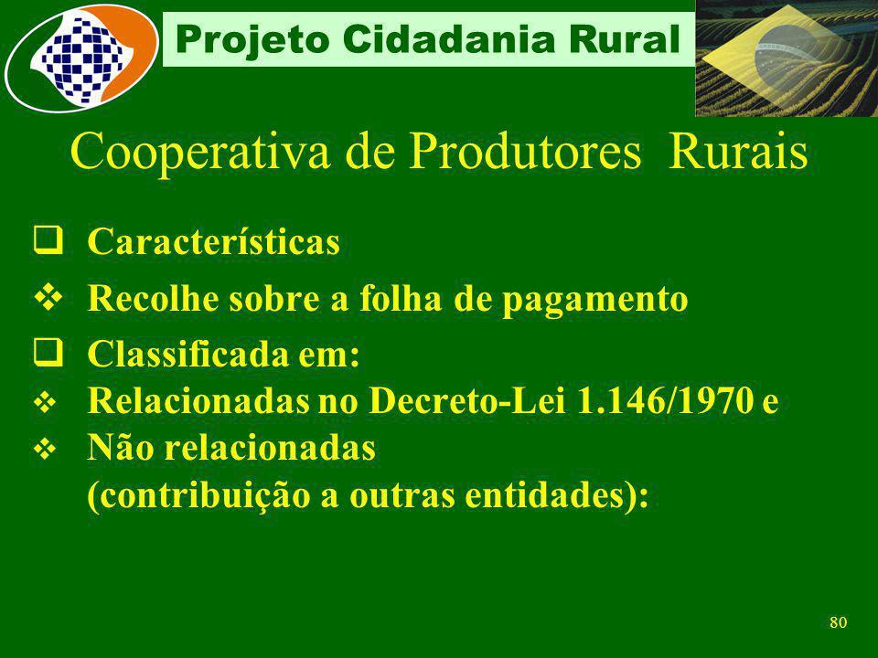 79 Projeto Cidadania Rural Cooperativa de Produtores Rurais Conceito sociedade de produtores rurais pessoas físicas, ou pessoas físicas e jurídicas co