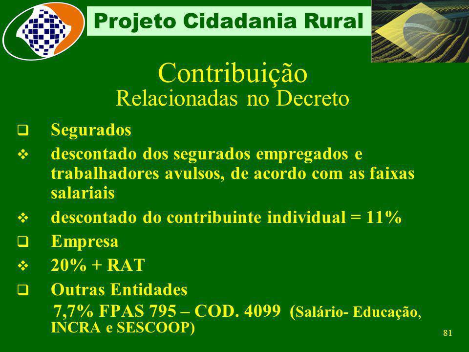 80 Projeto Cidadania Rural Características Recolhe sobre a folha de pagamento Classificada em: Relacionadas no Decreto-Lei 1.146/1970 e Não relacionad