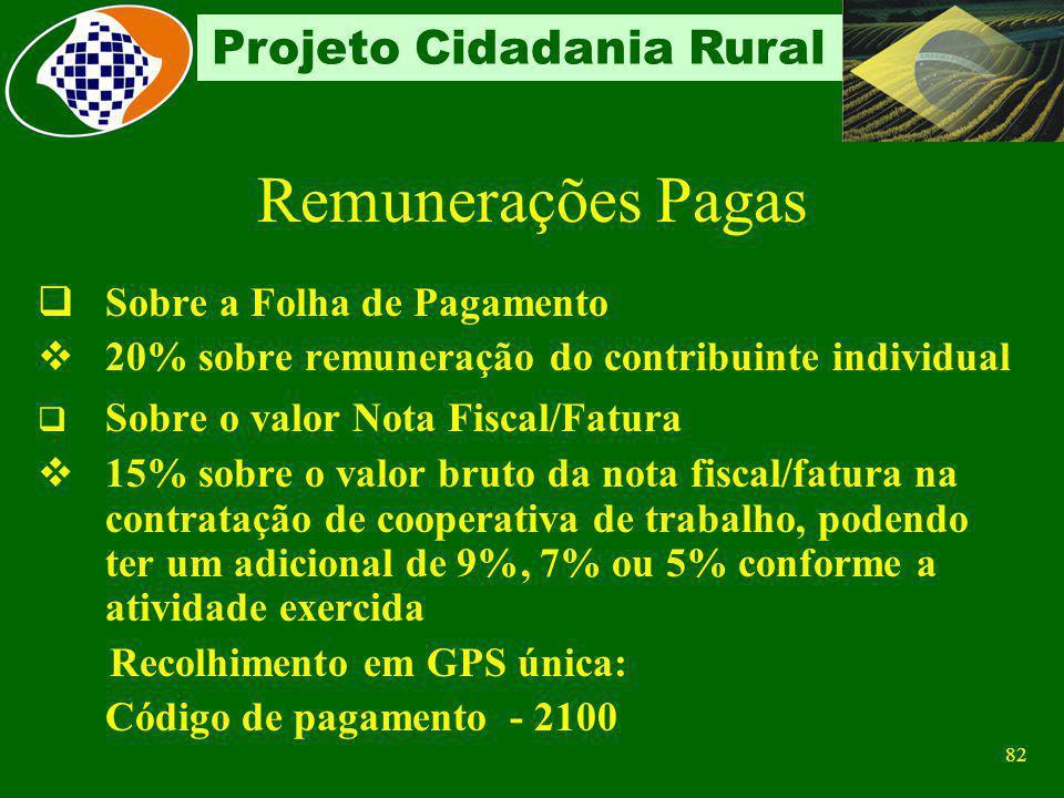 81 Projeto Cidadania Rural Contribuição Relacionadas no Decreto Segurados descontado dos segurados empregados e trabalhadores avulsos, de acordo com a