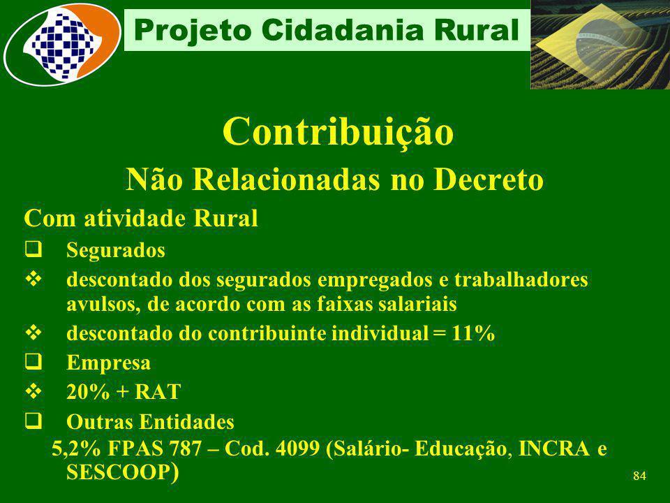 83 Projeto Cidadania Rural Enquadramento FPAS De acordo com a atividade de cada estabelecimento Estabelecimento exclusivamente administrativo Se relac