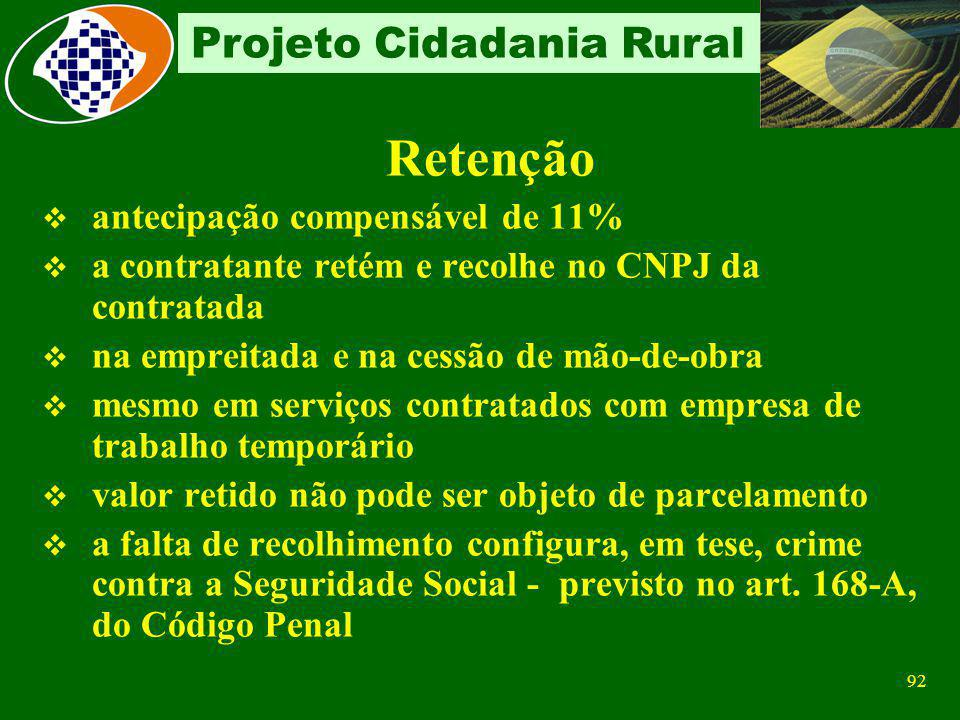 91 Projeto Cidadania Rural Prestador de Serviços Conceito de Cessão de mão-de-obra Colocação de trabalhadores à disposição Nas dependências da empresa