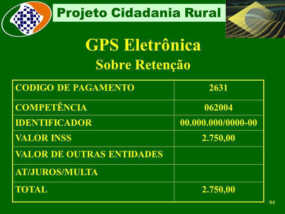 93 Projeto Cidadania Rural Não haverá retenção quando: o valor a ser retido for inferior ao limite mínimo para recolhimento – R$ 29,00 o serviço for p