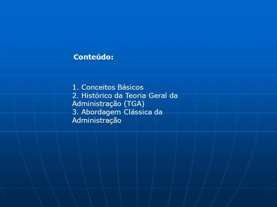 1. Conceitos Básicos 2. Histórico da Teoria Geral da Administração (TGA) 3. Abordagem Clássica da Administração Conteúdo: