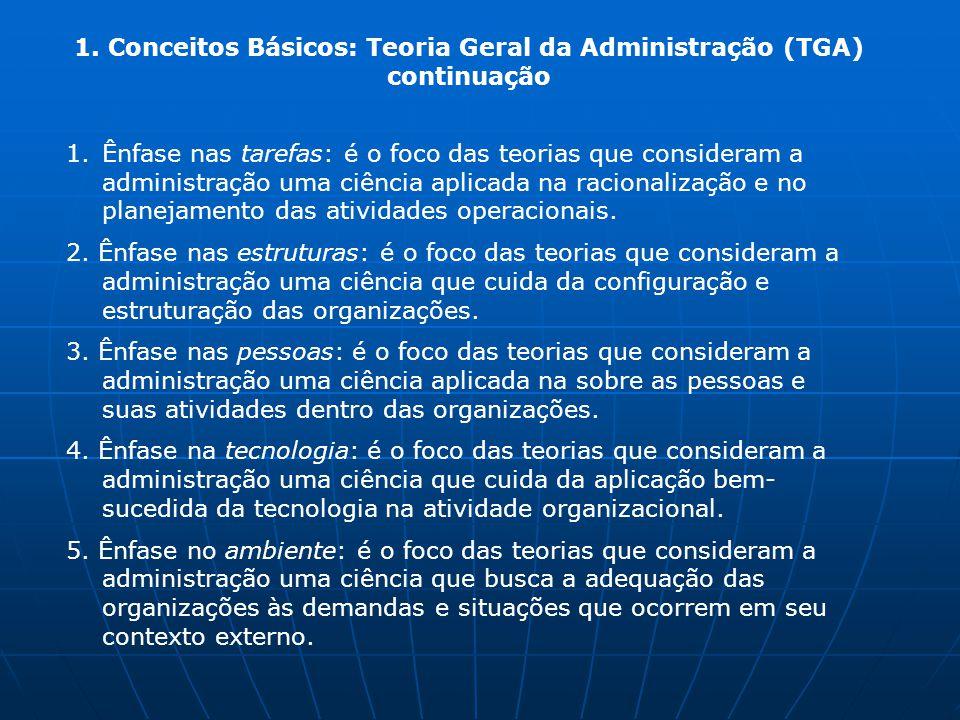 1. Conceitos Básicos: Teoria Geral da Administração (TGA) continuação 1.Ênfase nas tarefas: é o foco das teorias que consideram a administração uma ci