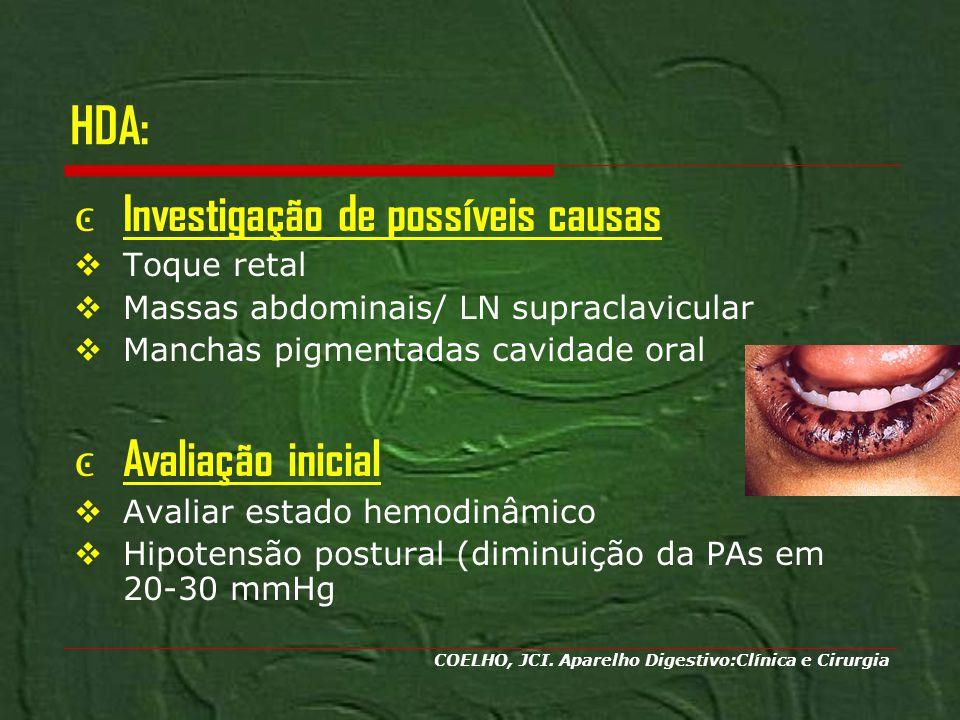 HDA: Investigação de possíveis causas Toque retal Massas abdominais/ LN supraclavicular Manchas pigmentadas cavidade oral Avaliação inicial Avaliar es
