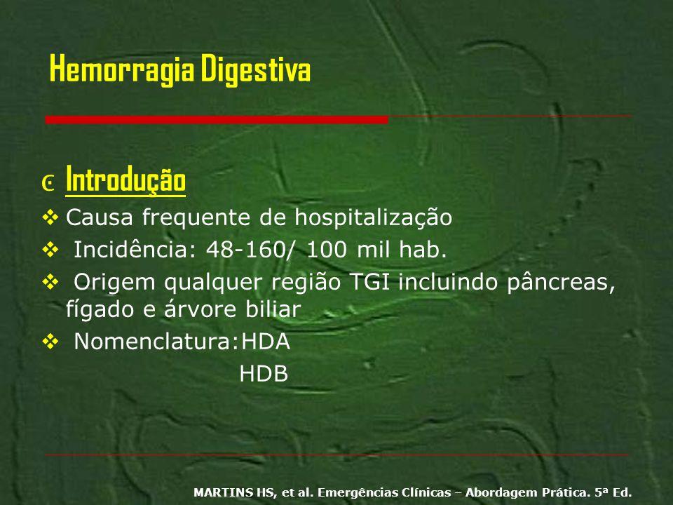 Hemorragia Digestiva Introdução Causa frequente de hospitalização Incidência: 48-160/ 100 mil hab. Origem qualquer região TGI incluindo pâncreas, fíga