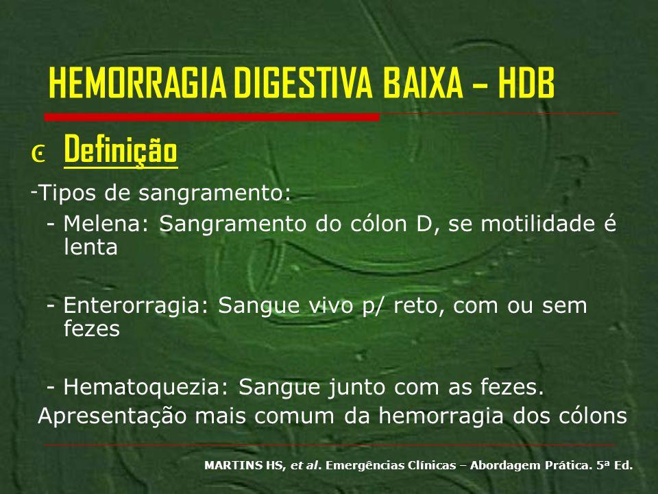 HEMORRAGIA DIGESTIVA BAIXA – HDB Definição - Tipos de sangramento: - Melena: Sangramento do cólon D, se motilidade é lenta - Enterorragia: Sangue vivo
