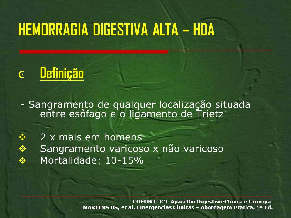 HEMORRAGIA DIGESTIVA ALTA – HDA Definição - Sangramento de qualquer localização situada entre esôfago e o ligamento de Trietz 2 x mais em homens Sangr