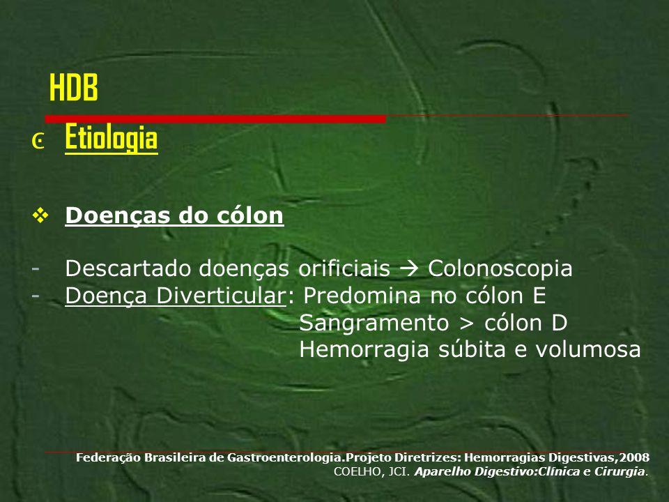 HDB Etiologia Doenças do cólon -Descartado doenças orificiais Colonoscopia -Doença Diverticular: Predomina no cólon E Sangramento > cólon D Hemorragia