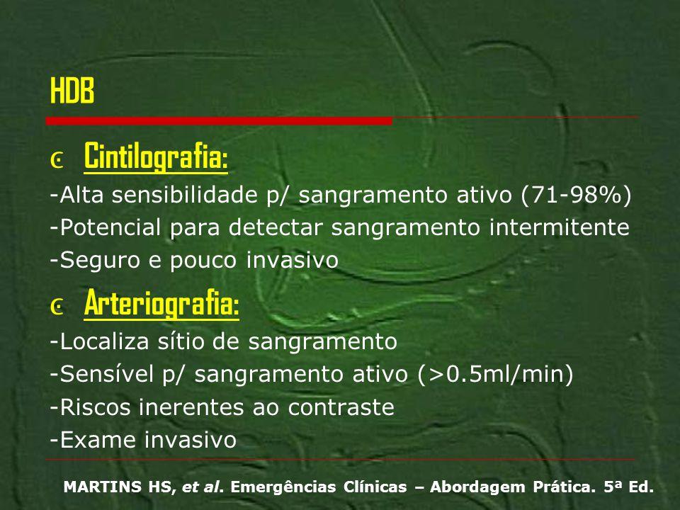 HDB Cintilografia: -Alta sensibilidade p/ sangramento ativo (71-98%) -Potencial para detectar sangramento intermitente -Seguro e pouco invasivo Arteri