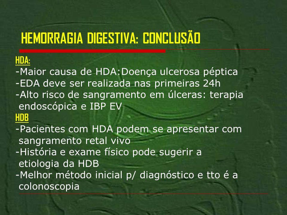HEMORRAGIA DIGESTIVA: CONCLUSÃO HDA: -Maior causa de HDA:Doença ulcerosa péptica -EDA deve ser realizada nas primeiras 24h -Alto risco de sangramento