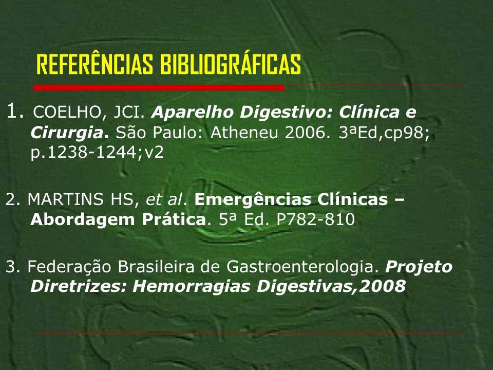 REFERÊNCIAS BIBLIOGRÁFICAS 1. COELHO, JCI. Aparelho Digestivo: Clínica e Cirurgia. São Paulo: Atheneu 2006. 3ªEd,cp98; p.1238-1244;v2 2. MARTINS HS, e