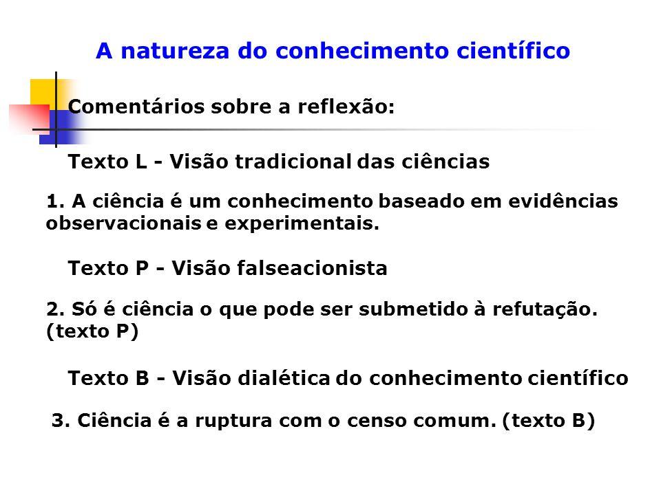 A natureza do conhecimento científico Comentários sobre a reflexão: Texto L - Visão tradicional das ciências Texto P - Visão falseacionista 1. A ciênc