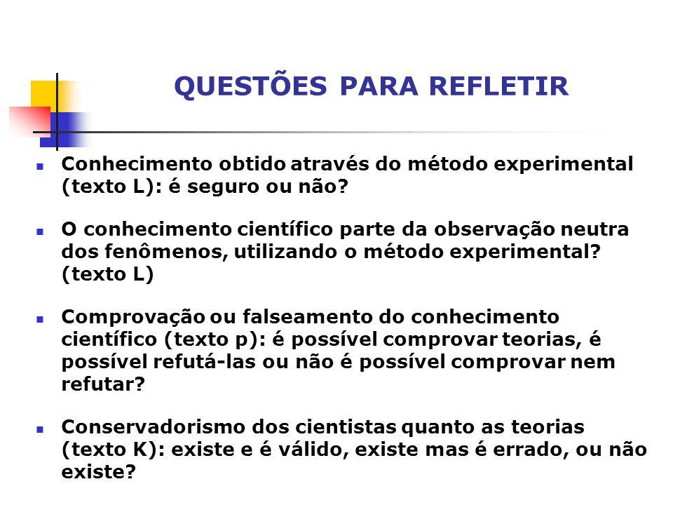 QUESTÕES PARA REFLETIR Conhecimento obtido através do método experimental (texto L): é seguro ou não.