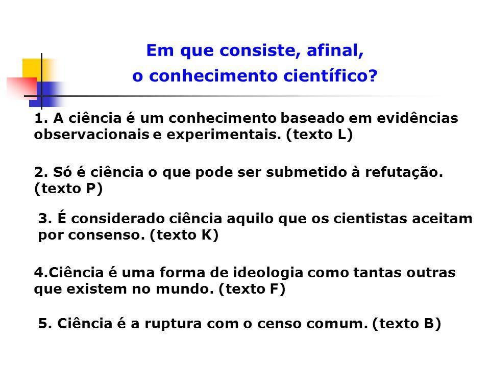 Em que consiste, afinal, o conhecimento científico?...não existe um conceito universal e atemporal de ciência ou de método científico...