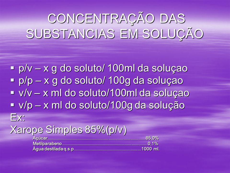 CONCENTRAÇÃO DAS SUBSTANCIAS EM SOLUÇÃO p/v – x g do soluto/ 100ml da soluçao p/v – x g do soluto/ 100ml da soluçao p/p – x g do soluto/ 100g da soluç