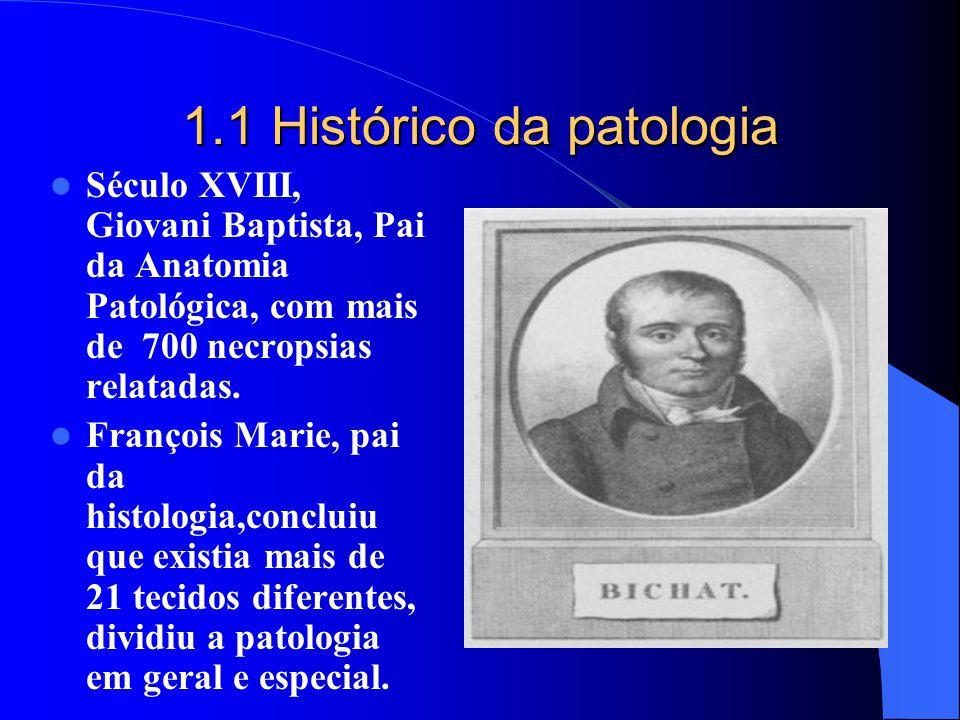1.1 Histórico da patologia Século XVIII, Giovani Baptista, Pai da Anatomia Patológica, com mais de 700 necropsias relatadas. François Marie, pai da hi