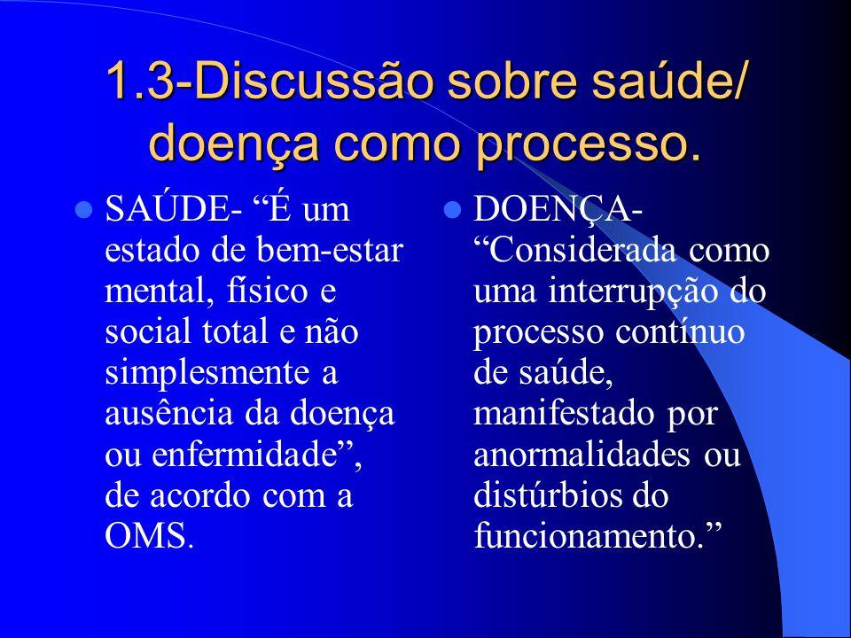 1.3-Discussão sobre saúde/ doença como processo. SAÚDE- É um estado de bem-estar mental, físico e social total e não simplesmente a ausência da doença