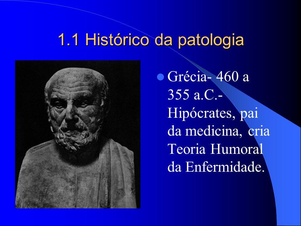 1.1 Histórico da patologia Grécia- 460 a 355 a.C.- Hipócrates, pai da medicina, cria Teoria Humoral da Enfermidade.