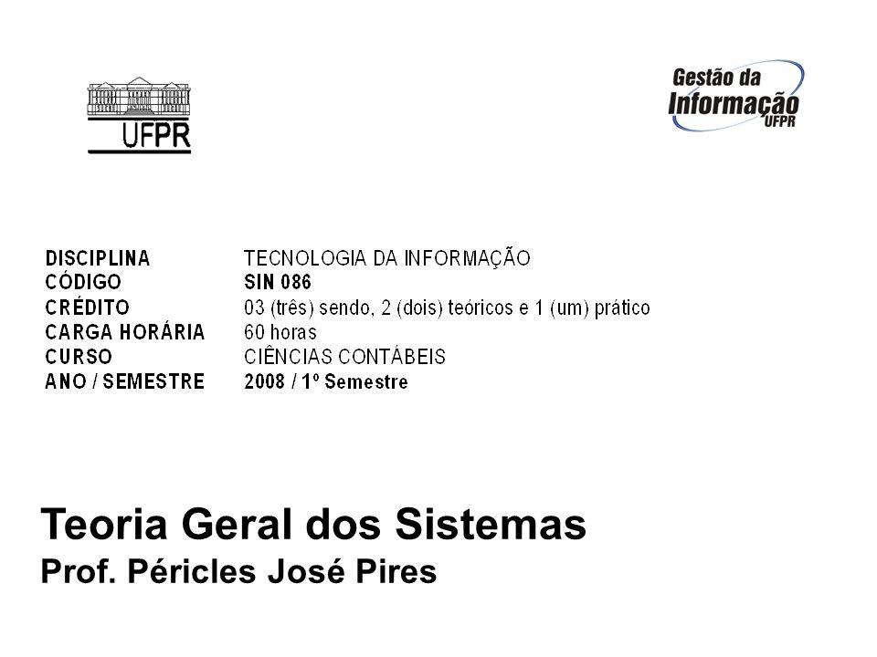 Teoria Geral dos Sistemas Prof. Péricles José Pires