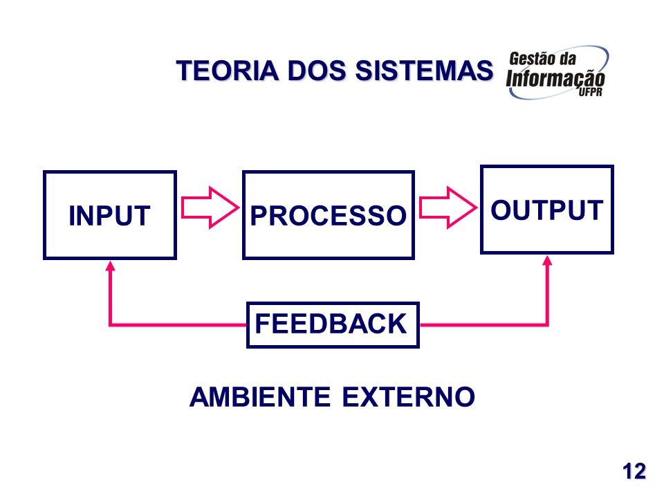 INPUT OUTPUT PROCESSO FEEDBACK AMBIENTE EXTERNO TEORIA DOS SISTEMAS 12