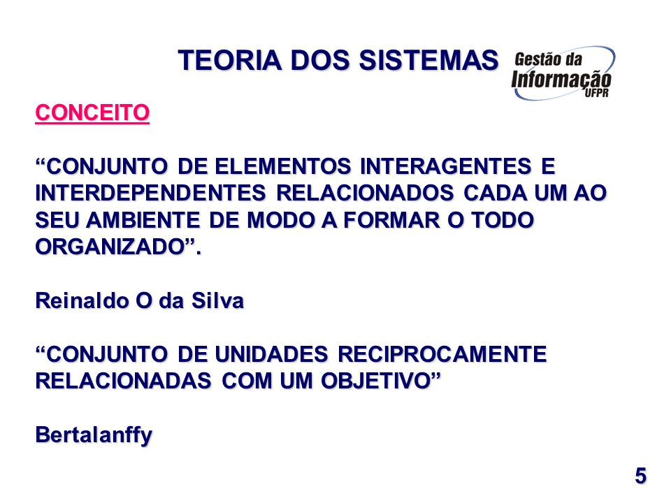 CARACTERÍSTICAS OBJETIVO OBJETIVO INTERDEPENDÊNCIA INTERDEPENDÊNCIA TIPOS DE SISTEMAS FÍSICOS / CONCRETOS FÍSICOS / CONCRETOS ABSTRATOS / CONCEITUAIS ABSTRATOS / CONCEITUAISNATUREZA FECHADOS FECHADOS ABERTOS ABERTOS TEORIA DOS SISTEMAS 6