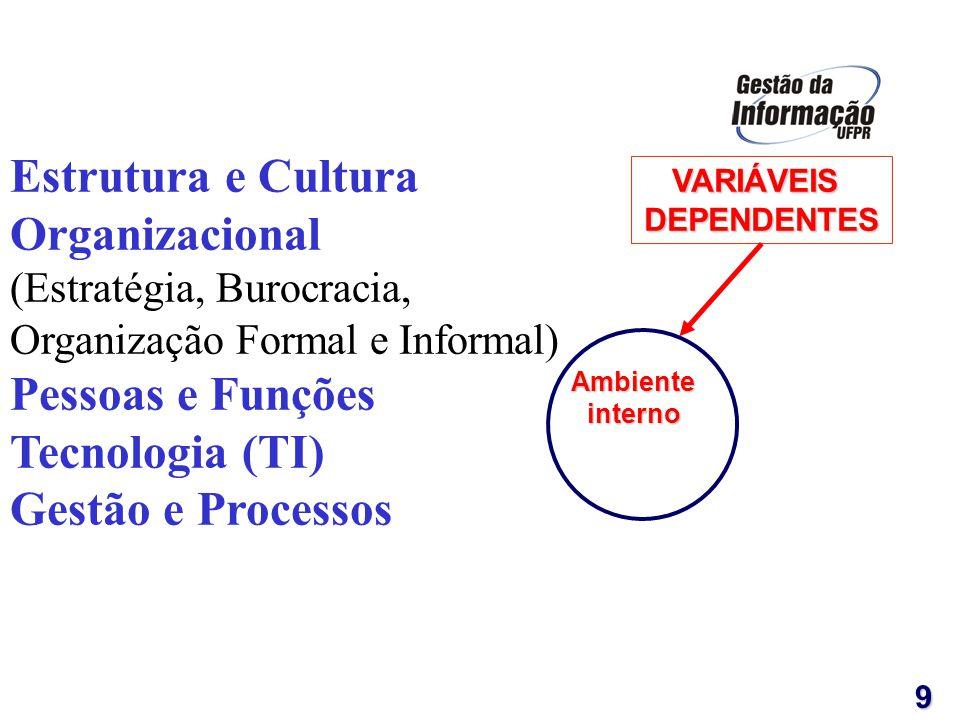 VARIÁVEISDEPENDENTES 9 Estrutura e Cultura Organizacional (Estratégia, Burocracia, Organização Formal e Informal) Pessoas e Funções Tecnologia (TI) Ge