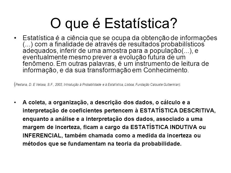 O que é Estatística? Estatística é a ciência que se ocupa da obtenção de informações (...) com a finalidade de através de resultados probabilísticos a