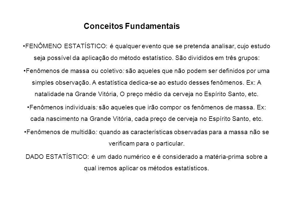 FENÔMENO ESTATÍSTICO: é qualquer evento que se pretenda analisar, cujo estudo seja possível da aplicação do método estatístico. São divididos em três