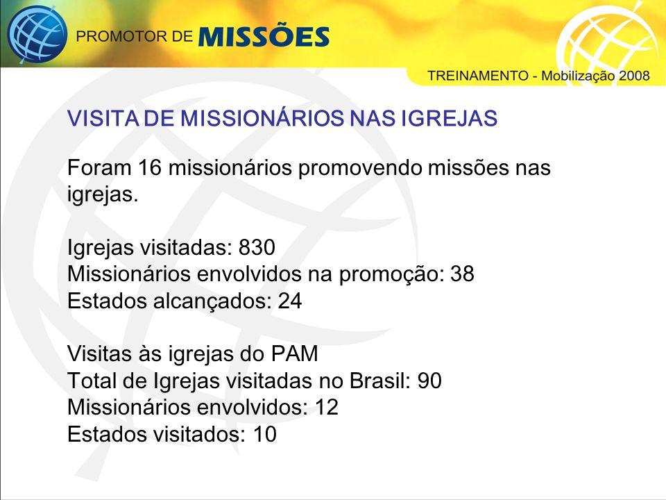Total ativos: 2.237 Total inativos: 248 PROMOTORES DE MISSÕES