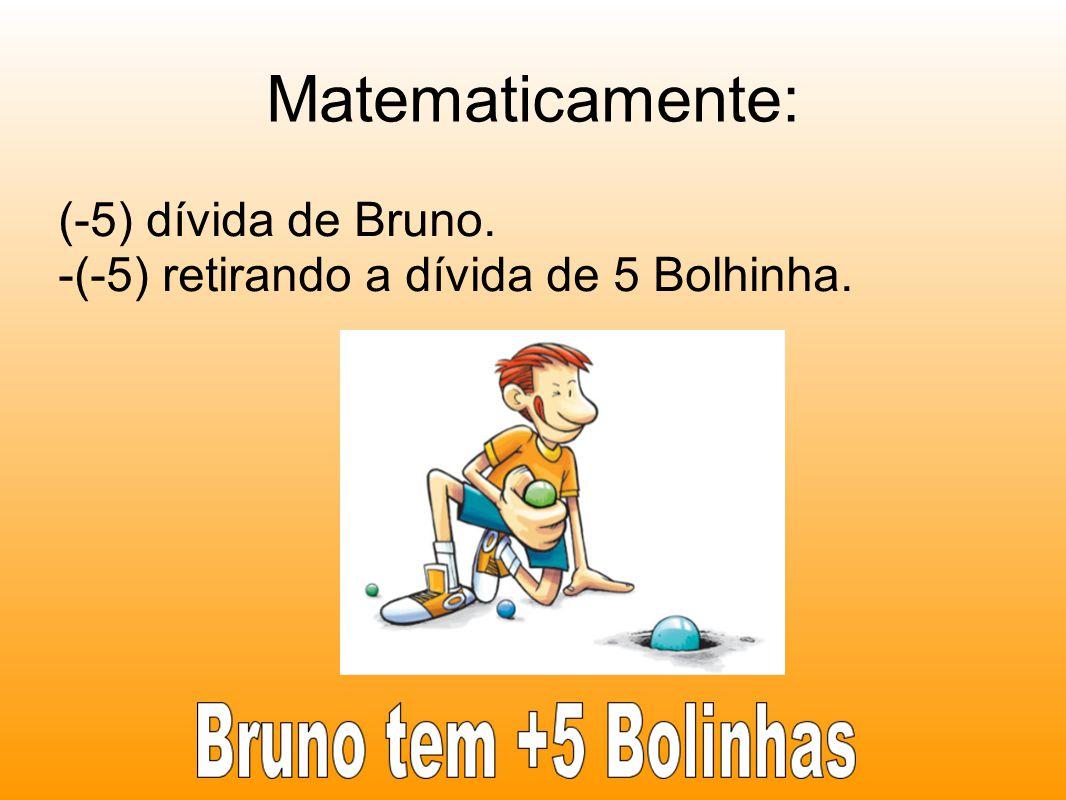 Matematicamente: (-5) dívida de Bruno. -(-5) retirando a dívida de 5 Bolhinha.