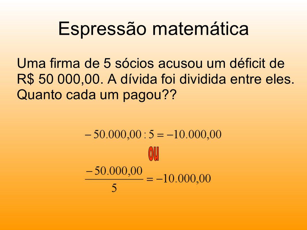 Espressão matemática Uma firma de 5 sócios acusou um déficit de R$ 50 000,00.
