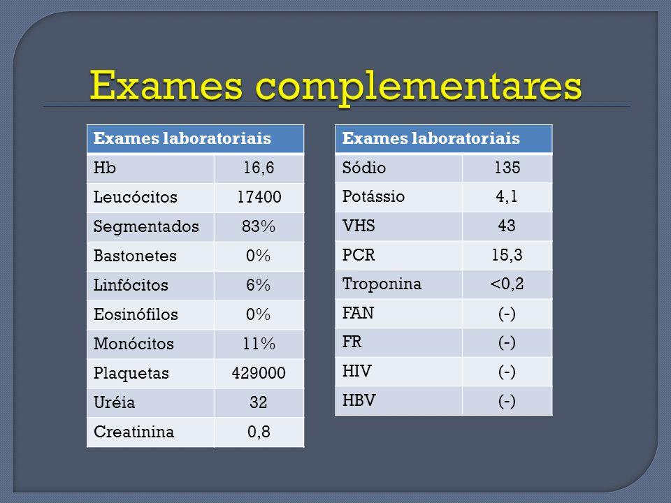 Exames laboratoriais Hb16,6 Leucócitos17400 Segmentados83% Bastonetes0% Linfócitos6% Eosinófilos0% Monócitos11% Plaquetas429000 Uréia32 Creatinina0,8