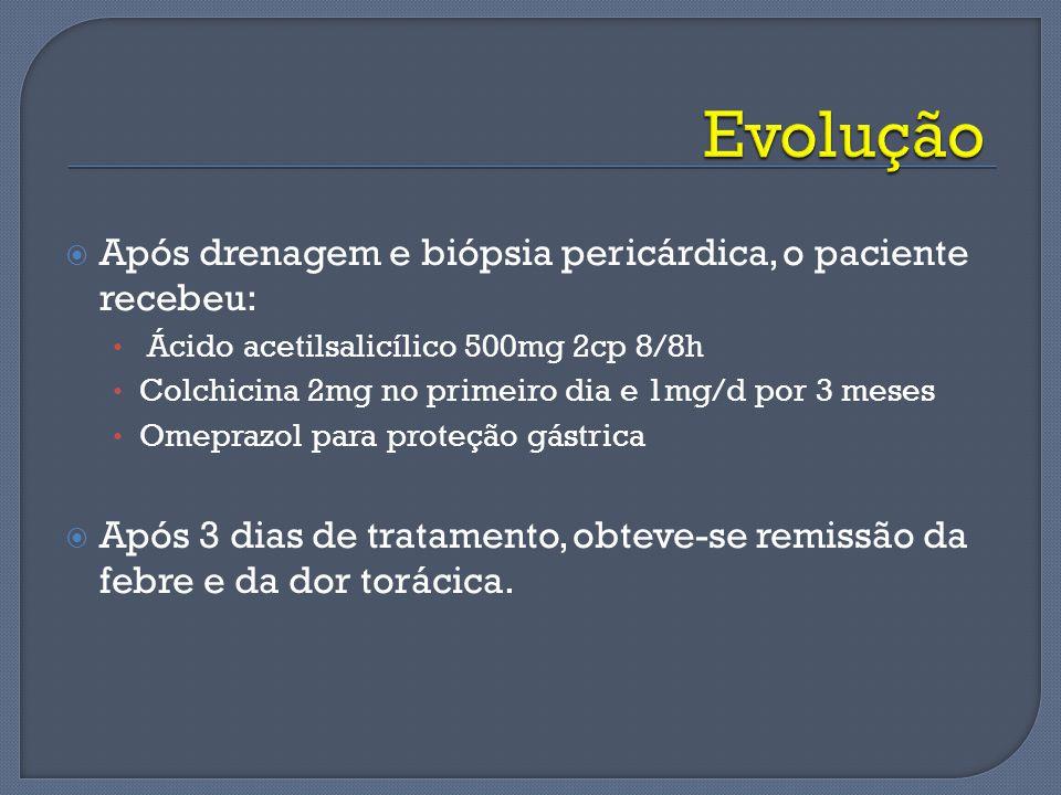 Após drenagem e biópsia pericárdica, o paciente recebeu: Ácido acetilsalicílico 500mg 2cp 8/8h Colchicina 2mg no primeiro dia e 1mg/d por 3 meses Omep
