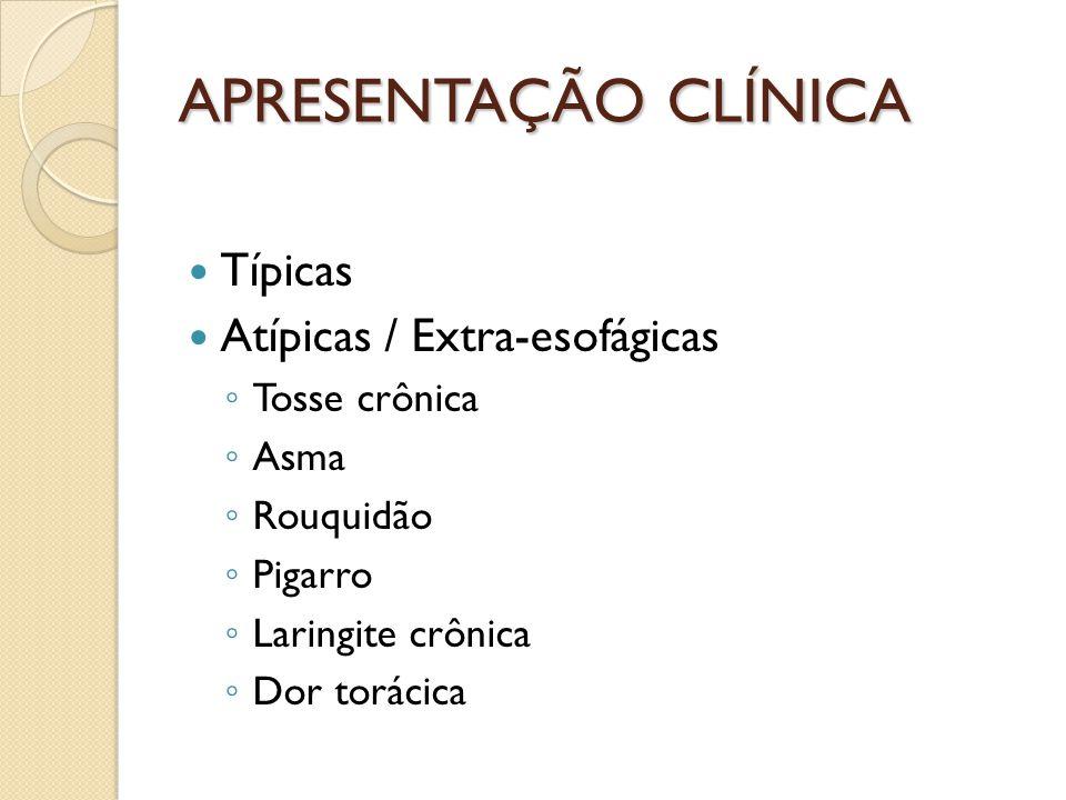APRESENTAÇÃO CLÍNICA Típicas Atípicas / Extra-esofágicas Tosse crônica Asma Rouquidão Pigarro Laringite crônica Dor torácica