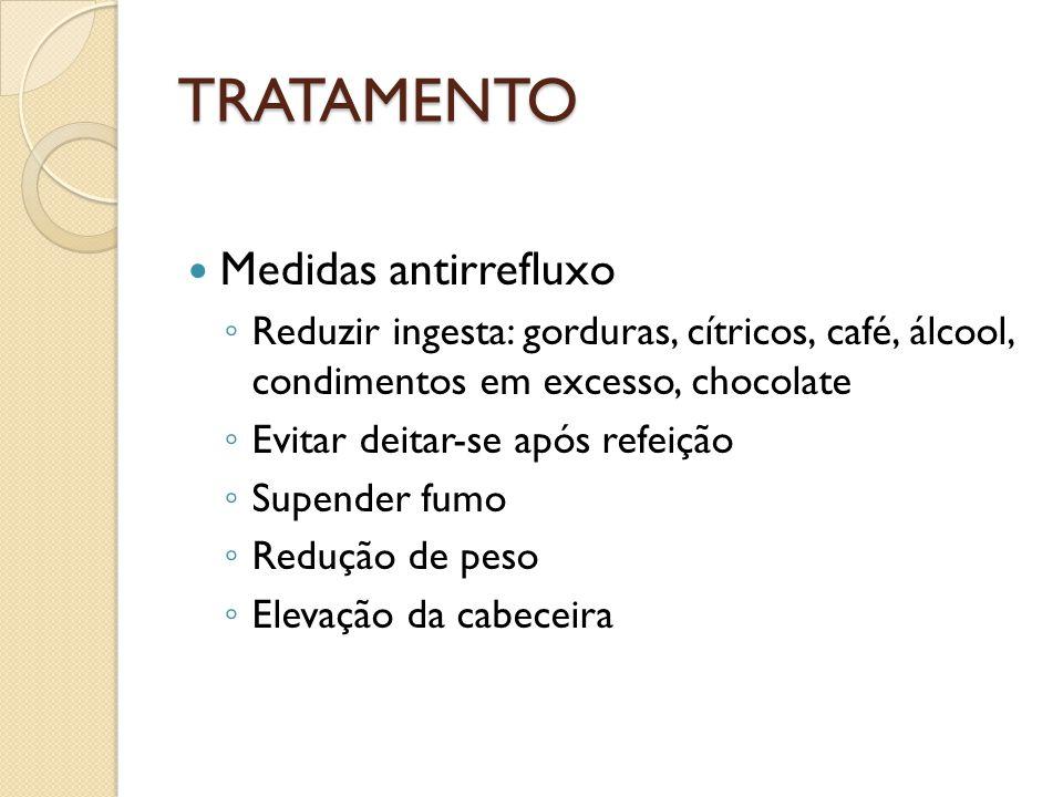 TRATAMENTO Medidas antirrefluxo Reduzir ingesta: gorduras, cítricos, café, álcool, condimentos em excesso, chocolate Evitar deitar-se após refeição Su