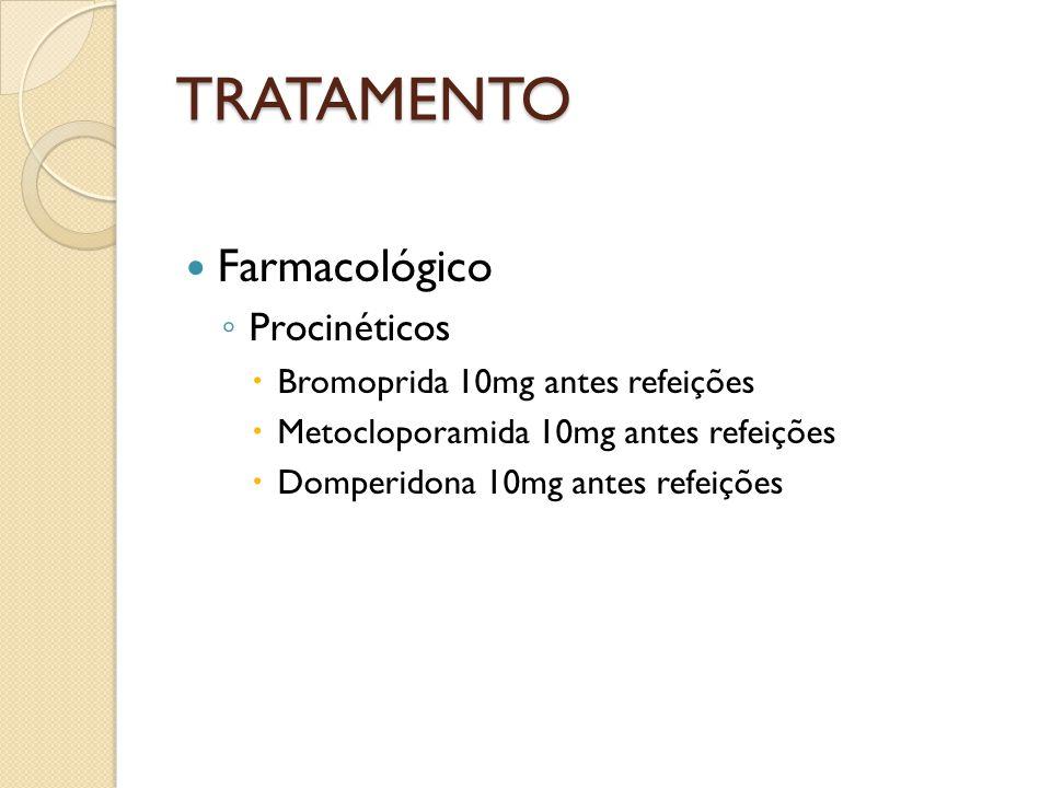 TRATAMENTO Farmacológico Procinéticos Bromoprida 10mg antes refeições Metocloporamida 10mg antes refeições Domperidona 10mg antes refeições