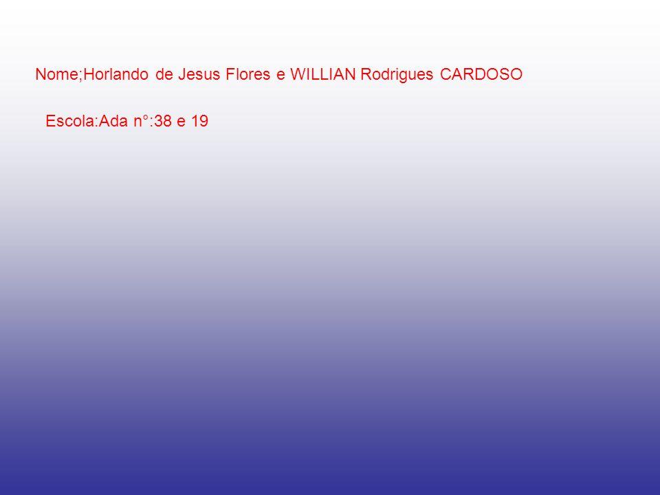 Nome;Horlando de Jesus Flores e WILLIAN Rodrigues CARDOSO Escola:Ada n°:38 e 19