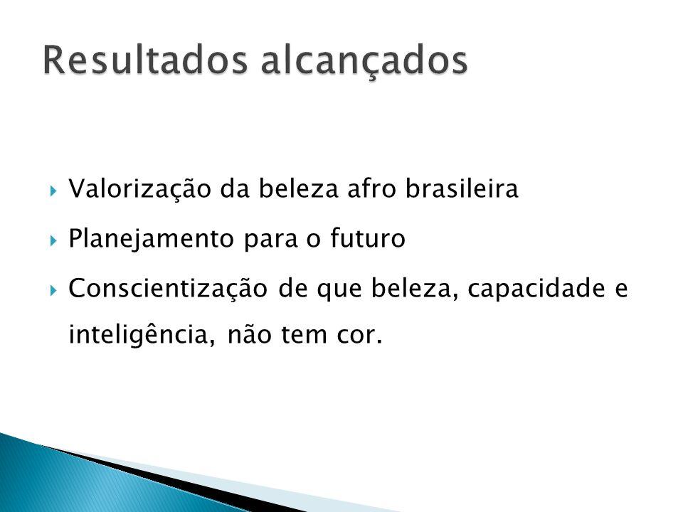 Valorização da beleza afro brasileira Planejamento para o futuro Conscientização de que beleza, capacidade e inteligência, não tem cor.