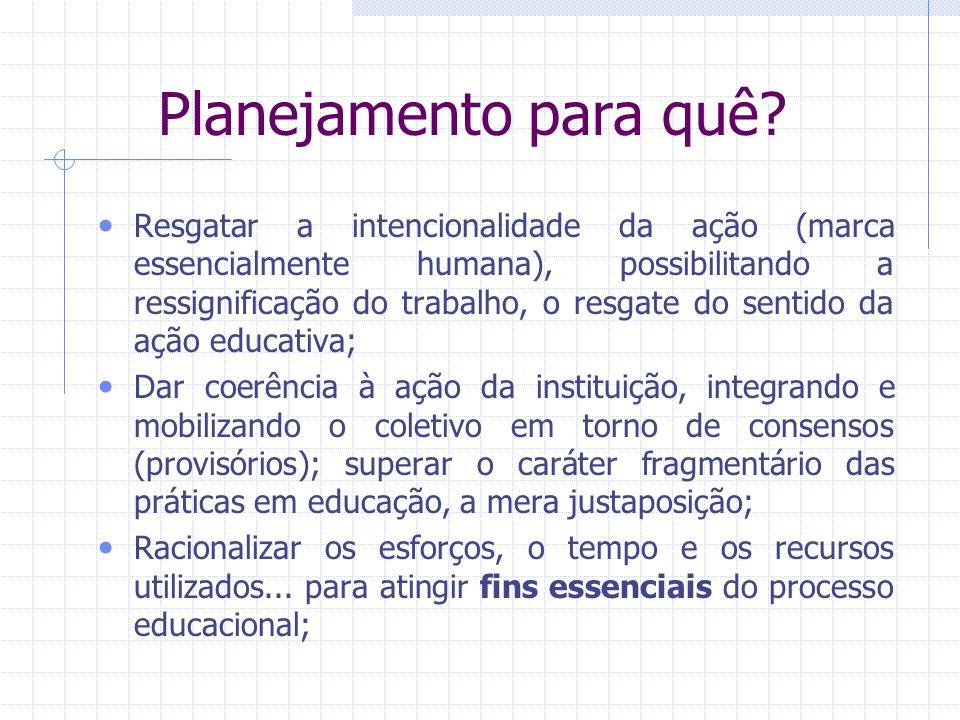 Planejamento para quê? Resgatar a intencionalidade da ação (marca essencialmente humana), possibilitando a ressignificação do trabalho, o resgate do s