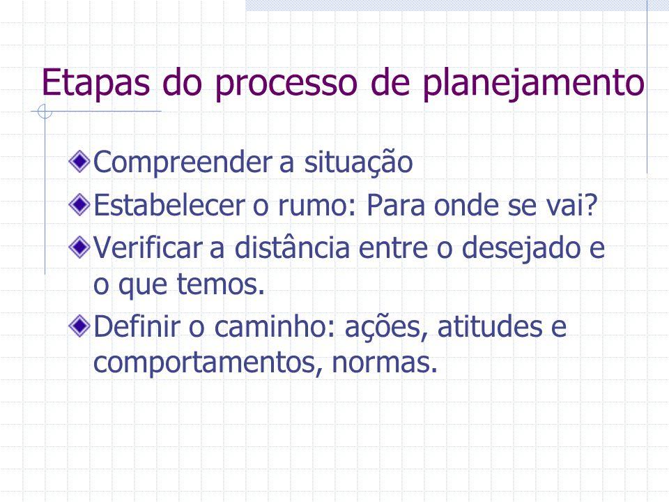 Etapas do processo de planejamento Compreender a situação Estabelecer o rumo: Para onde se vai.