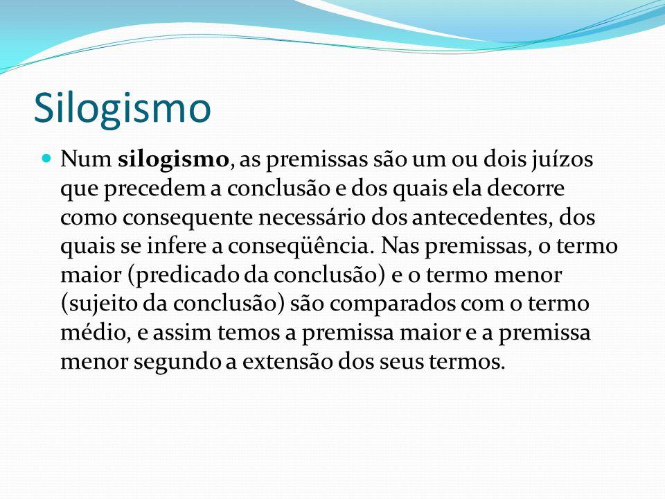 Silogismo Num silogismo, as premissas são um ou dois juízos que precedem a conclusão e dos quais ela decorre como consequente necessário dos anteceden