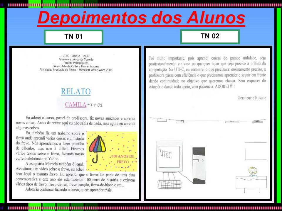 Depoimentos dos Alunos TN 02 TN 01