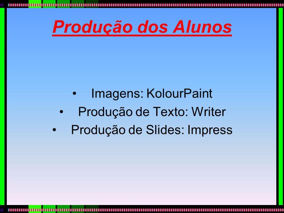 Produção dos Alunos Imagens: KolourPaint Produção de Texto: Writer Produção de Slides: Impress